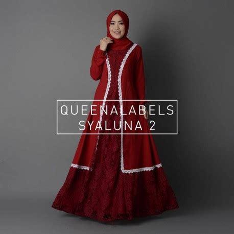 Gamis Syaluna syaluna maroon baju muslim gamis modern