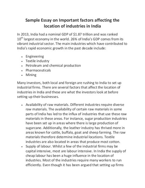 Location Essay by Sle Essay On Important Factors Affecting The Location Of Industrie