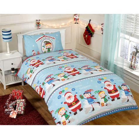Sports Themed Duvet Covers Christmas Single Duvet Set Santa S Helpers Bedding B Amp M