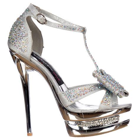 silver high heels with bows shoekandi diamante jewelled bow high heel