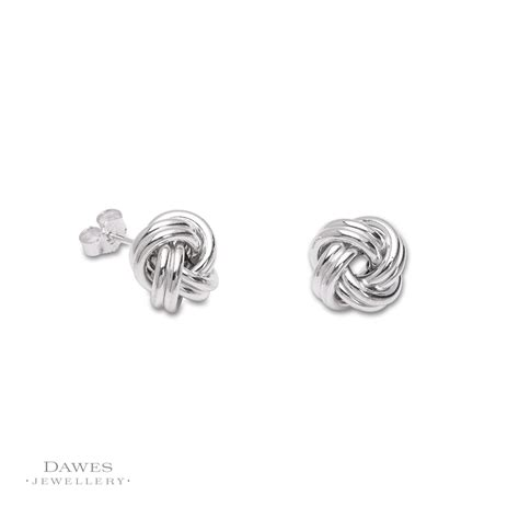 Knot Stud Earring large sterling silver knot stud earrings dawes jewellery