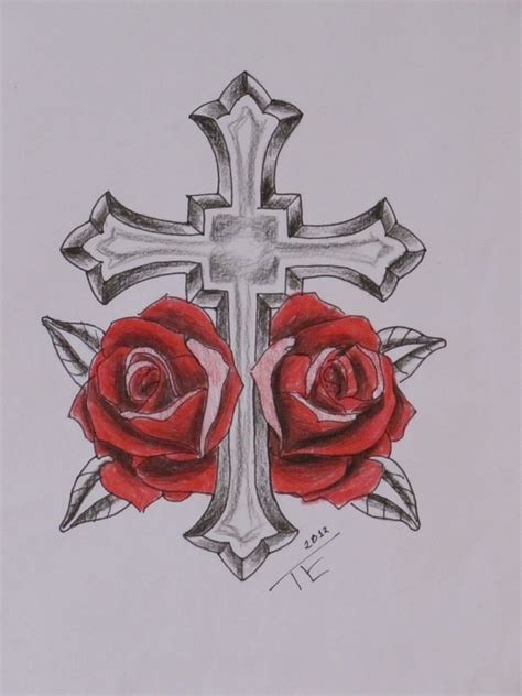 cross and rose tattoo cross www imgkid the image kid has it