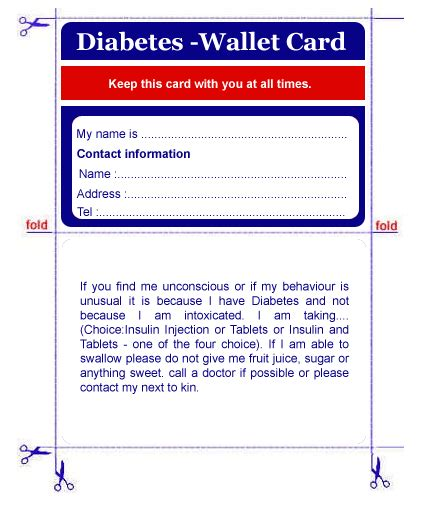 diabetic wallet card template diabetes