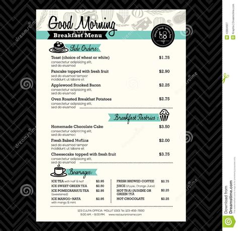 breakfast menu template word restaurant breakfast menu design template layout stock