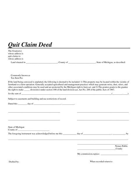 Quit Claim Deed Template Michigan Quick Claim Deed Michigan Form