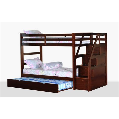 twin bed with trundle and storage kids twin over twin triple bunk bed with trundle and storage steps bedroom furniture