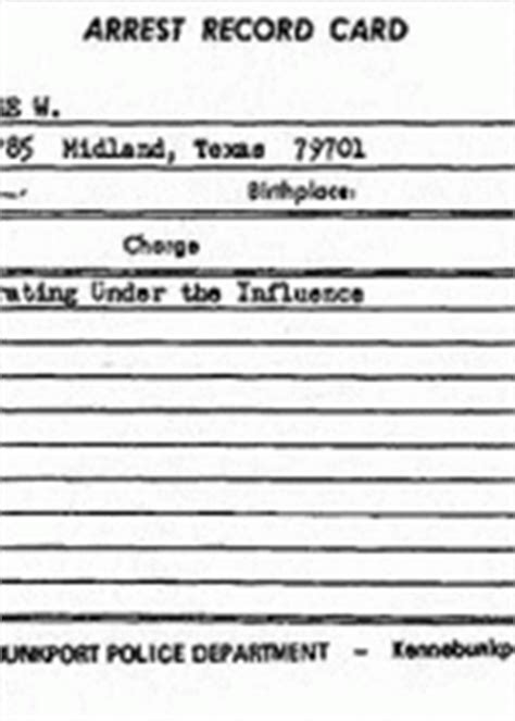 Dui Criminal Record George W Bush Dui Arrest Record The Gun