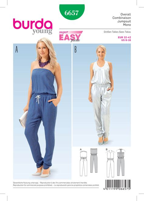 pattern of review article burda 6657 misses jumpsuit