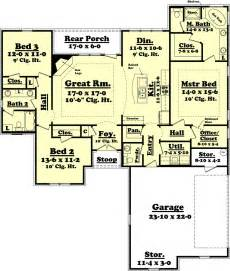 1800 Square Foot House by Ranch Style House Plan 3 Beds 2 5 Baths 1800 Sq Ft Plan