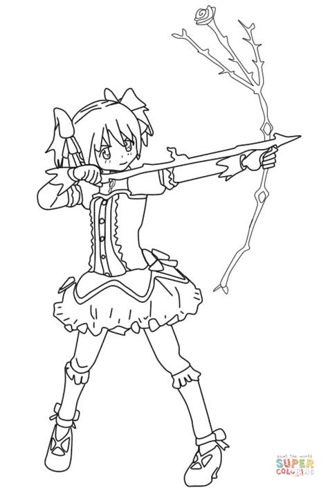 anime magical girl coloring pages madoka kaname from puella magi wiki coloring page free