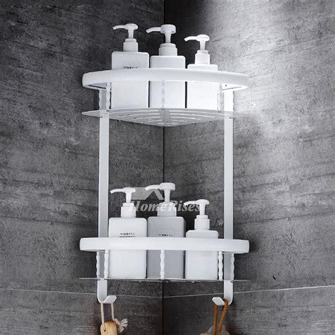Double Layer Bathroom Shelves Wall Mounted Black Black Bathroom Shelves