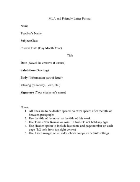 mla format for letter best template collection