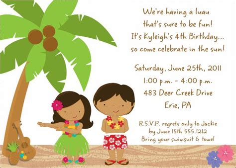 children s 7th birthday invitation wording 88 best 7th birthday luau images on birthdays hawaiian birthday and luau