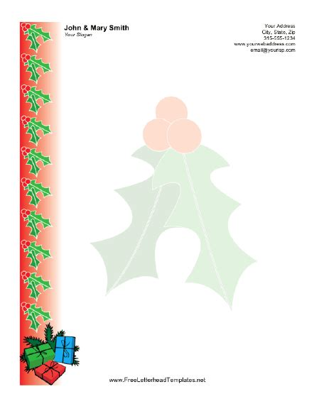 christmas letterhead with holly