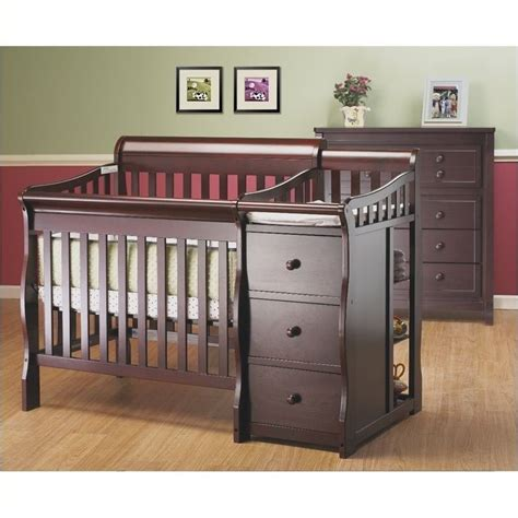 Convertible Mini Crib 3 In 1 Pemberly Row 3 In 1 Mini Convertible Crib And Changer Combo In Merlot Pr 350666