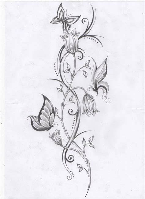 flowers with vines tattoo designs flower vine and butterflies by ashtonbkeje on deviantart