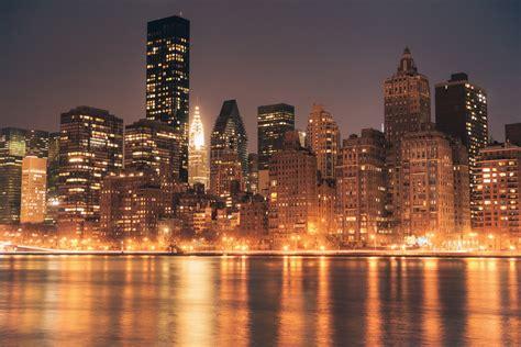 New York City Skyline And Chrysler Building At Ny New York Lights