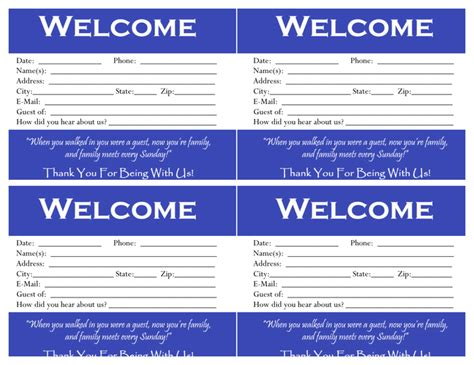 Welcome Card Design Template by Visitor Card Template Best Free Home Design Idea