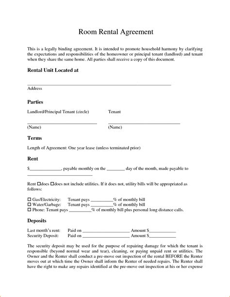 room for rent agreement template free 6 room lease agreement teknoswitch