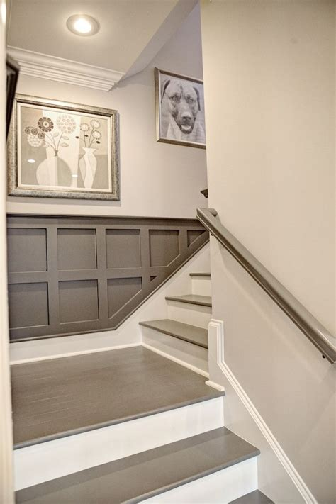 Gray Wainscoting staircase detail gray wainscoting for the home