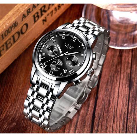 lige jam tangan kasual pria stainless steel