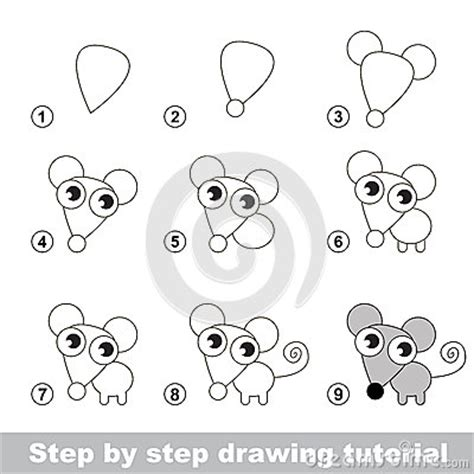 how to do doodle step by step drawing tutorial how to draw a mouse stock vector
