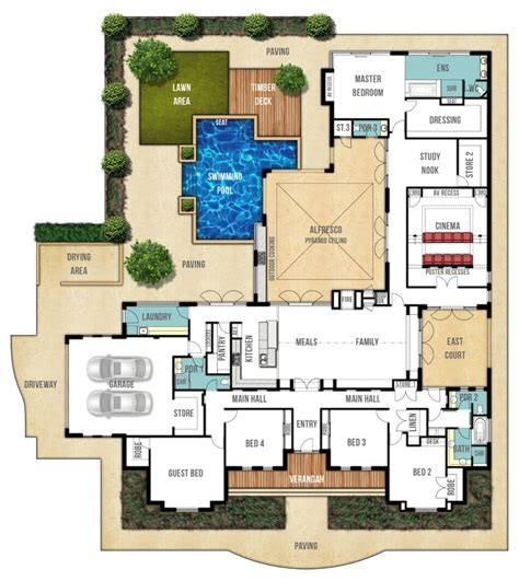 floor plans for homes with pools house plan with swimming pool escortsea