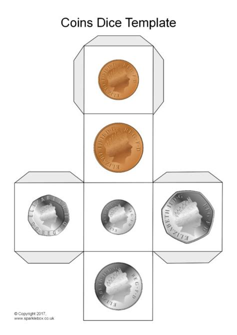 printable coin dice coins dice templates sb8751 sparklebox