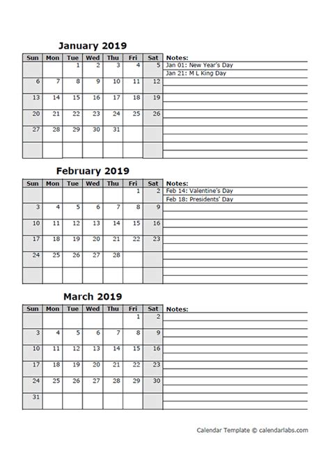 Three Month Calendar Template 2019 three month calendar template free printable templates