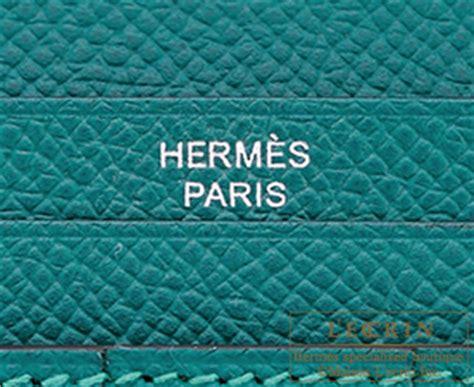 H Bearn Malachite hermes bearn tri fold wallet malachite epsom leather silver hardware hermes birkin l ecrin