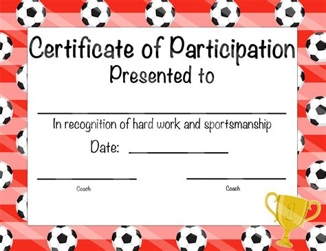 soccer certificate of achievement soccer by otpartyprintables