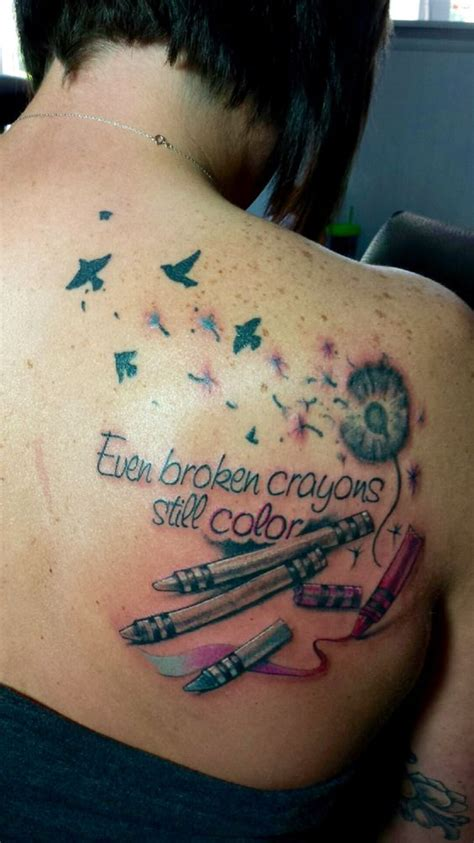 crayon tattoo quot even broken crayons still color quot in with my new