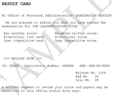 result card template state of rhode island division of human resources civil service examinations