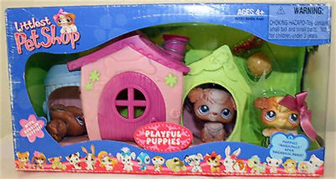 littlest pet shop dog house littlest pet shop playful puppies with bobblin puppies play dog house new