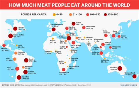 How Much Meat People Eat Around The World Vivid Maps How Much Is It To Eat At Country Buffet