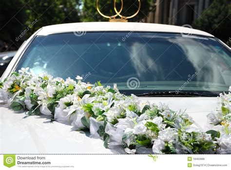 Wedding Car With Flowers by White Wedding Car With Flowers Stock Photo Image Of