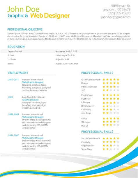 Colorful Resume Templates Free 301 moved permanently