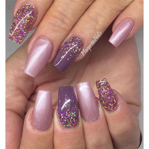short coffin nails margaritasnailz pinterest coffin blush purple glitter square tip nails by