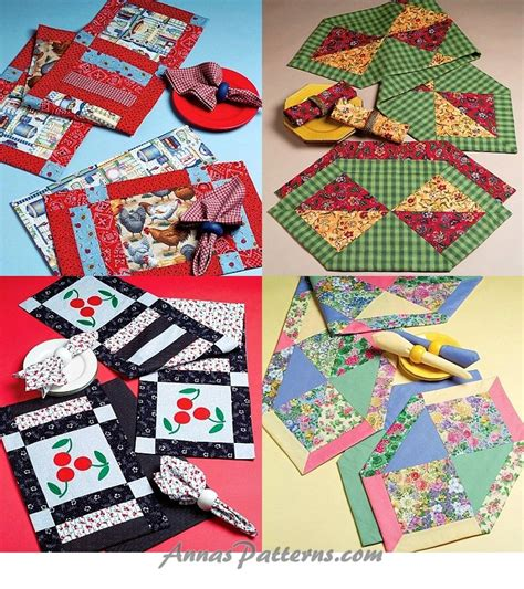 Patchwork Table Mats Pattern - sewing pattern patchwork table runner placemats napkins