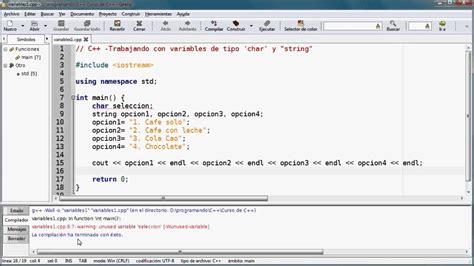 funciones de cadenas en lenguaje c 02 video de c variables char y string youtube