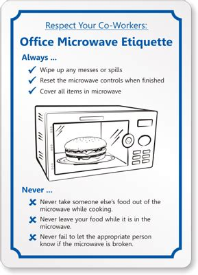 Funny office kitchen etiquette signs