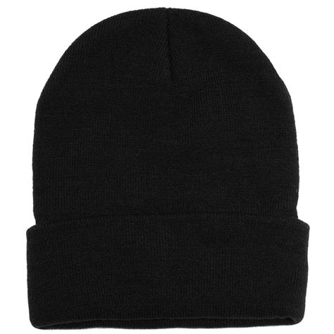 black knit cap plain black beanie knit ski cap skull hat warm solid color