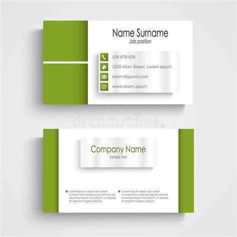 green card template modern green light business card template stock vector