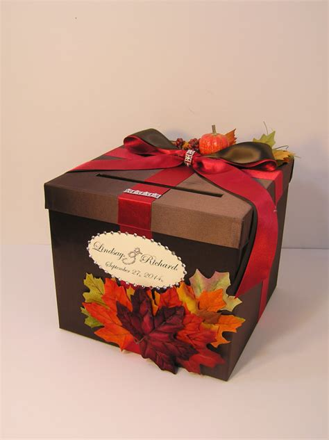 Fall Gift Cards - fall wedding card box gift card box money box by bwithustudio