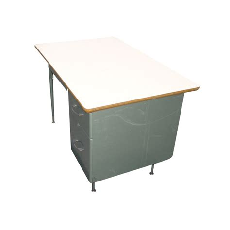 Midcentury Retro Style Modern Architectural Vintage Green Student Desk