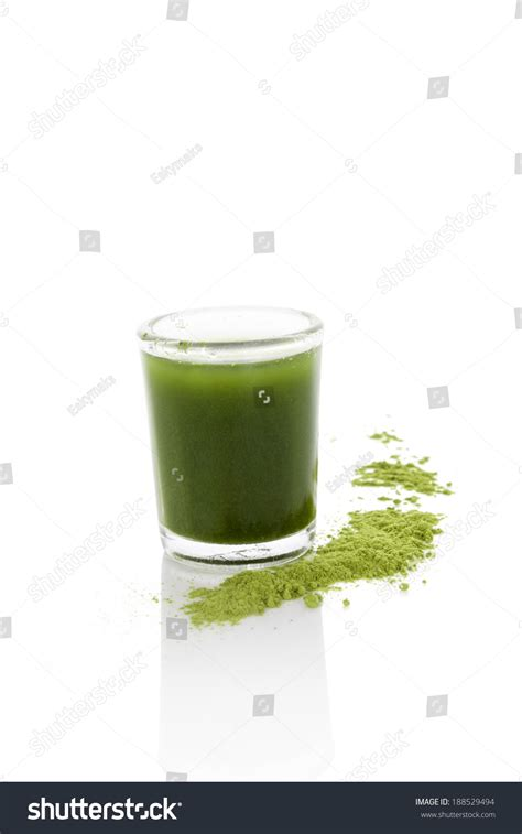 Wheatgrass Juice Powder For Mold Detox by Detox Green Food Supplement Ground Wheatgrass Stock Photo