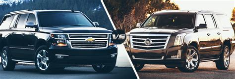 cadillac and chevrolet 2015 chevy suburban vs 2015 cadillac escalade