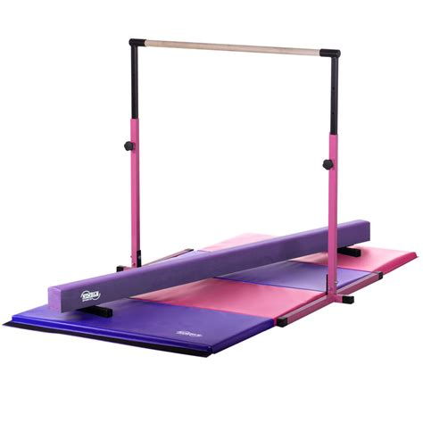 3 5 pink horizontal bar 8ft purple balance beam 8ft