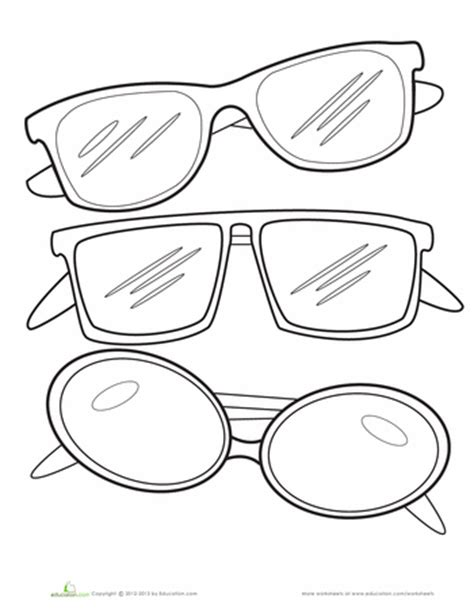 Coloring Page Sunglasses | sunglasses coloring page worksheets school and template