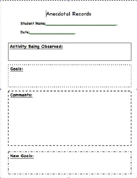anecdotal assessment template 11 best images about classroom documentation on